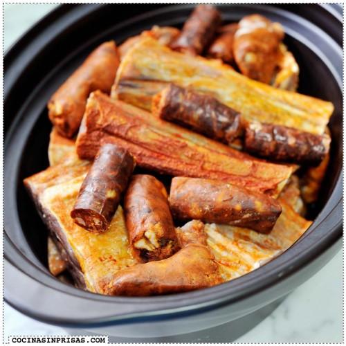 Cocina sin prisas - Cecina de chivo entrecallada con chorizo y longaniza